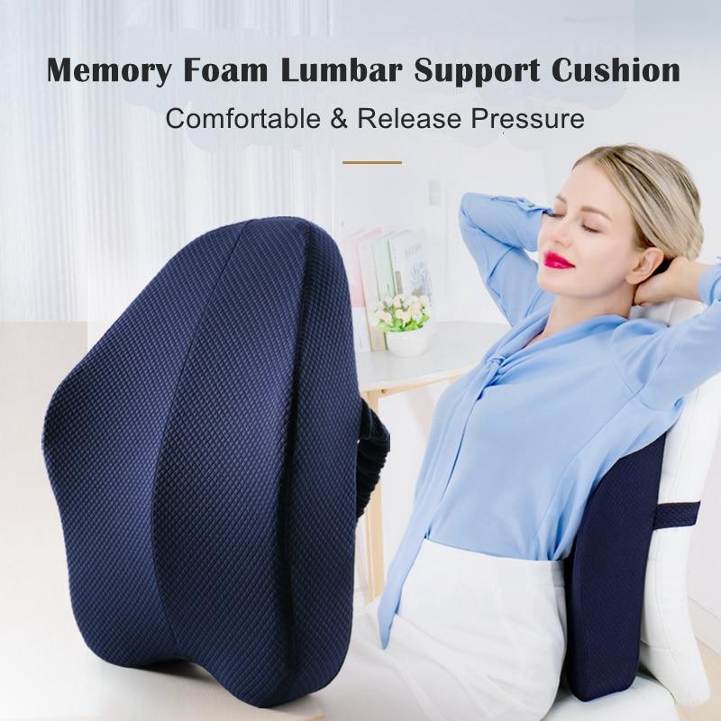 HTB170ioadzvK1RkSnfoq6zMwVXaj Memory Foam Lumbar Support Back Cushion Firm Pillow for Computer/Office Chair Car Seat Recliner Lower Back Pain Sciatica Relief