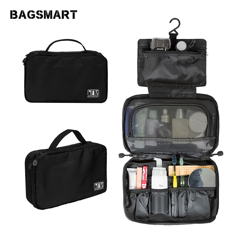 BAGSMART Travel Accessories Bags Waterproof Portable Toiletry Bag Cosmetic Pouch Hanging Wash Bags Lightweight Makeup Bag