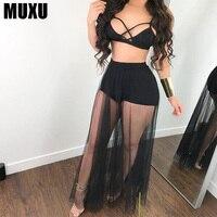 MUXU sexy transparent Club black dress summer womens clothing ladies backless mesh suspender sundress two piece set jurken 2018