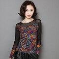 Moda Mujer Elástico Camisetas de Malla Transparente de Manga Larga de Encaje Negro Camisetas Impresas Tops de Las Mujeres Ropas S-XXL