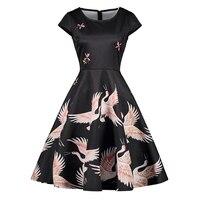 Plus Size Dress Women Short Sleeve Vintage Dresses Knee Length O Neck Crane Print Elegant Hot