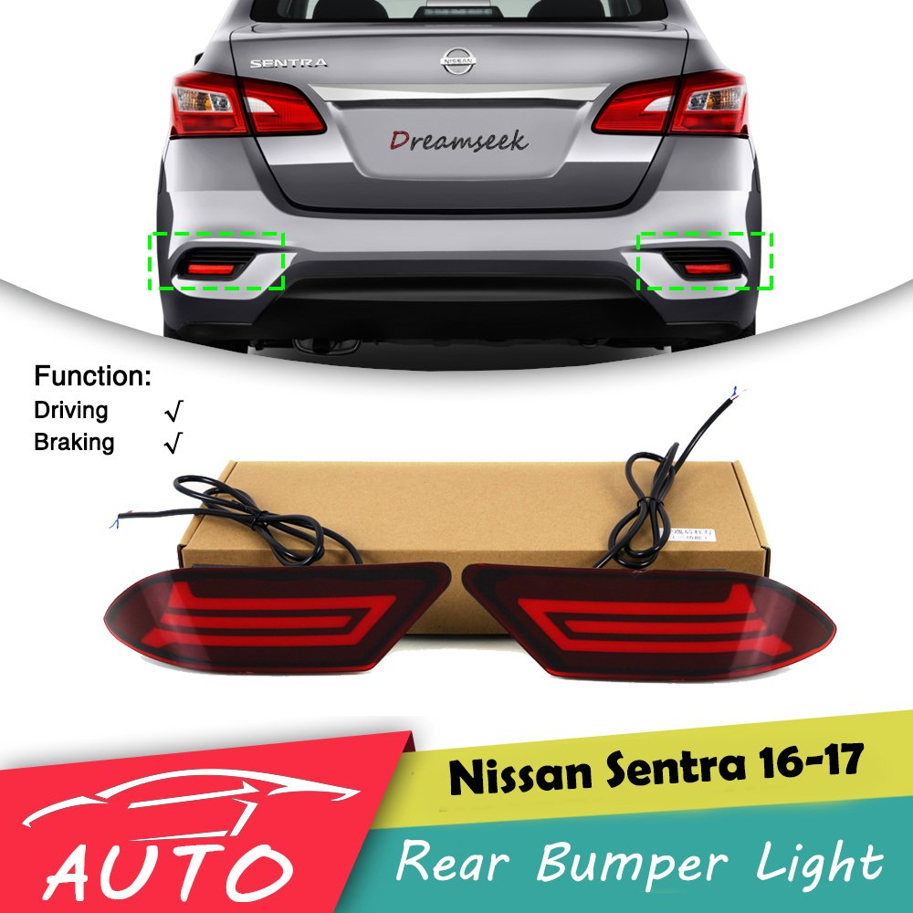 Red LED Rear Bumper Tail Light For Nissan Sentra 2016 2017 Driving Brake Lamp osmrk led rear bumper light brake lamp driving light night running lamp for mazda cx 5 2012 16