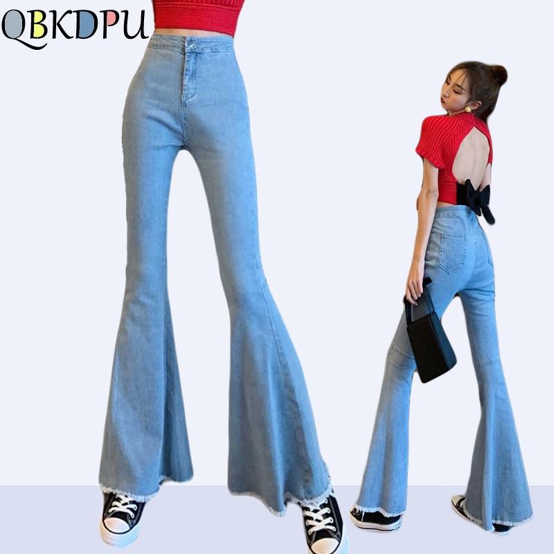 Sexy Stretching High Waist Flare Jeans Women Fashion Tassel Bell Bottom Blue Skinny Denim Pants Retro Trousers Female Streetwear