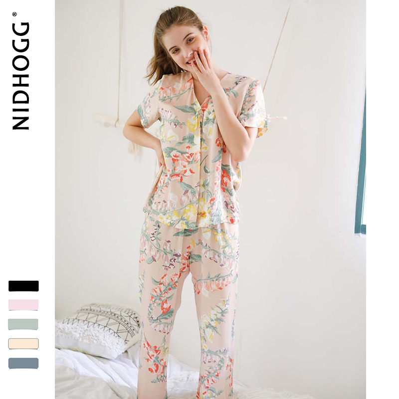Image 3 - Summer New Elegant Flower Printing Satin Pajamas for Women Short Sleeve Trousers Sleepwear V Neck Sexy Casual Clothes 2 Suits-in Pajama Sets from Underwear & Sleepwears