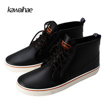 Rubber Shoes Rain Boots Man Comfortable Black Man Boots Waterproof Round Toe brand Ankle boots Kawaihae 2017
