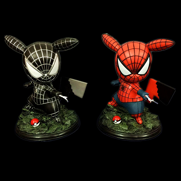 16CM Japanese anime figure pikachu cosplay spiderman Q version action figure collectible model toys for boys 2016 new pikachu action figure hot pikachu toy anime collectible model d