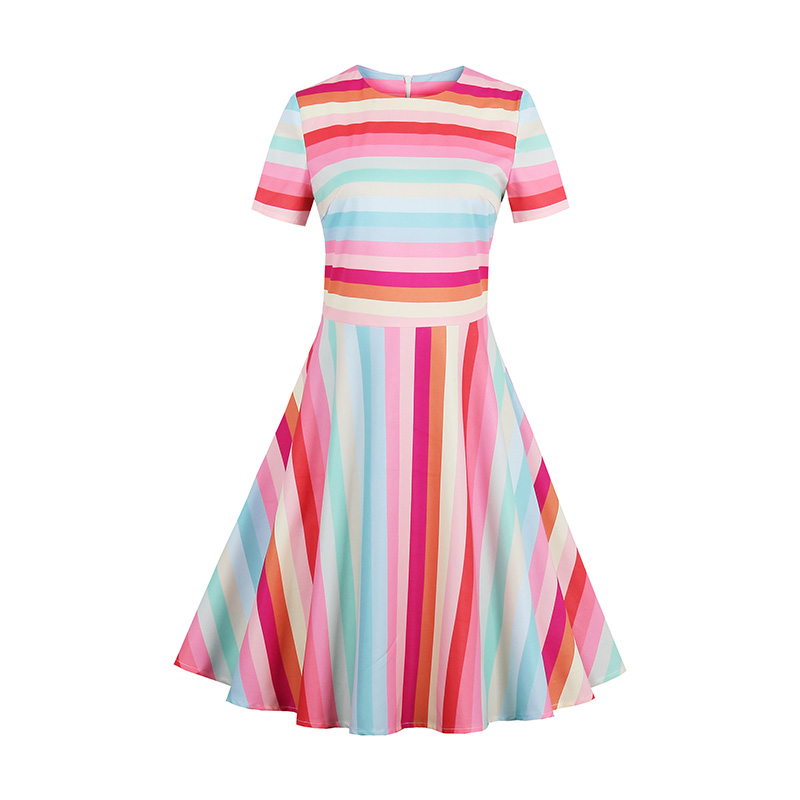 Sisjuly Women Summer Rainbow Dress Female Spring Multi-Color Short Sleeve Dresses Knee-Length Round Neck Dresses Girls Dress