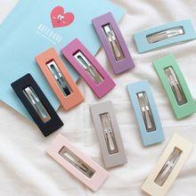 Горячая корейский дизайн Новая мода сплошной цвет скраб смолы заколки для волос геометрические полые квадратные шпильки для волос для девочек стиль