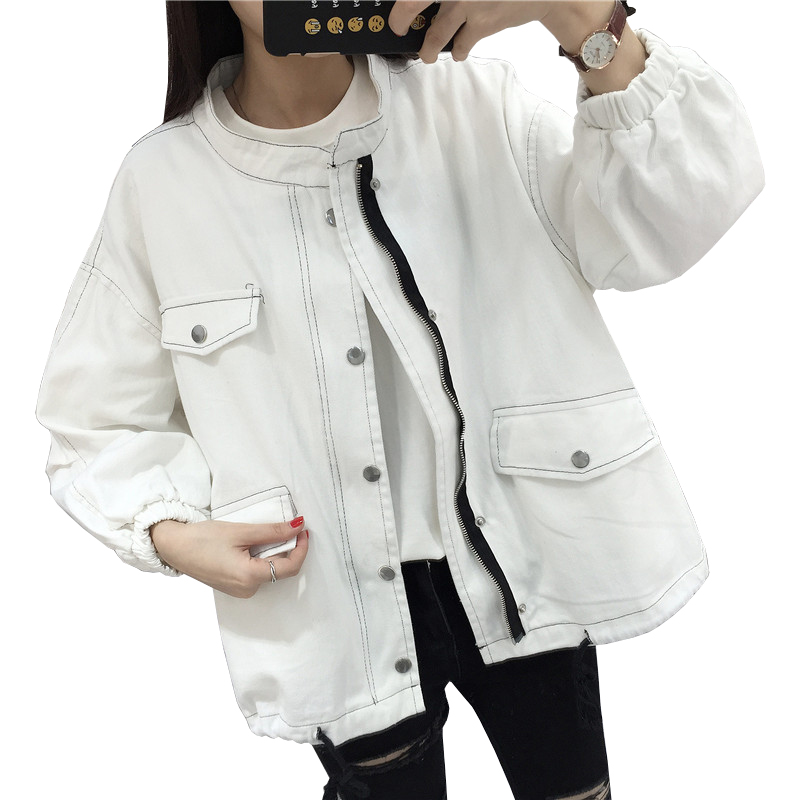 2019 New Solid Color Women's Windbreaker Cotton Denim   Jacket   Women Fashion Stand Casual   Basic     Jackets   White Black Jeans   Jacket