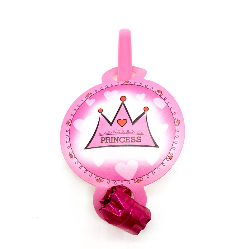 Princess Pink Crown 6pcs/lot Happy Birthday Party Baby Shower Toys Blow Out Decoration Kids Favors Theme Noise Maker Supplies