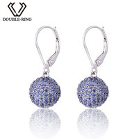 DOUBLE R Real 925 Silver for Party Rhodium Plated Clip on Drop Earrings Fine Jewelry Brand Women Earrings Female Gift