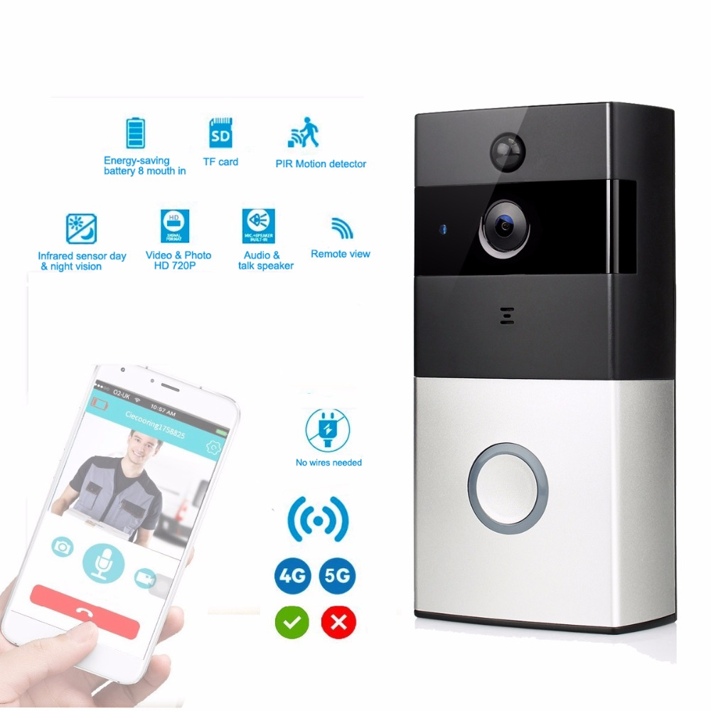 Wireless WiFi Video Doorbell Battery Low Power Smart HD 2.4G Phone Remote/PIR motion With Two-way Talk Home Security F1777A kinco night vision video doorbell smart home wifi remote control hd waterproof dtmf motion detection alarm for phone