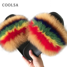 Женские меховые тапочки; теплые шлепанцы с лисьим мехом для женщин; шлепанцы; Домашние меховые тапочки; пушистые сандалии; зимняя плюшевая обувь