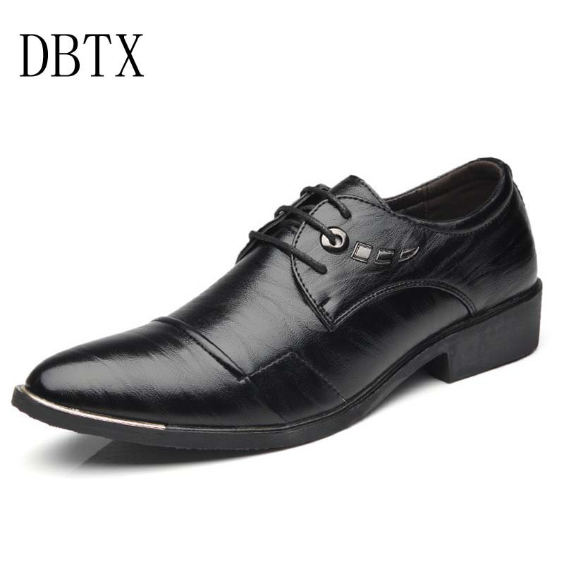 New 2018 Men Dress Oxford Shoes Business Formal Men Leather Shoes Lace-Up Pointed Toe British Style Men Shoes Brown Black new 2018 fashion men dress shoes black leather pointed toe male business shoes lace up men falt office shoes yj b0035