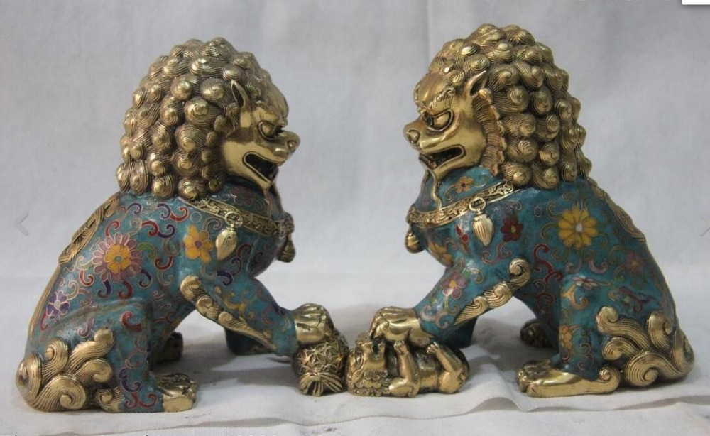 Chinese Wire Inlay Cloisonne Enamel Pure Bronze Brass Foo Dog Lion ...