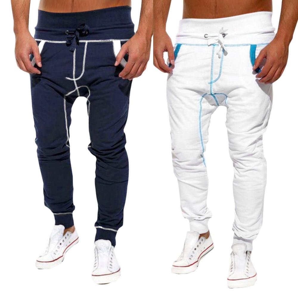 Высококачественные мужские Повседневное Jogger шаровары Штаны Свободные брюки; спортивные штаны хлопок Мужские Штаны #3630