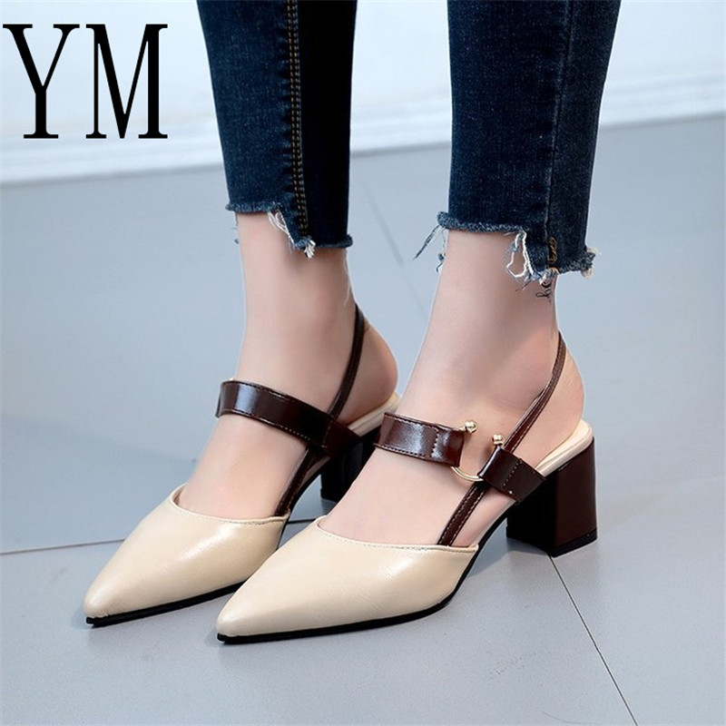 Hot 2018 Spring New hollow coarse Sandals High-heeled Shallow Mouth Pointed baotou shoes Work shoes Women Female Sexy High heels spring and autumn new retro princess pointed high heeled shoes women shoes shallow mouth fine with sexy elegance xxxy f 168