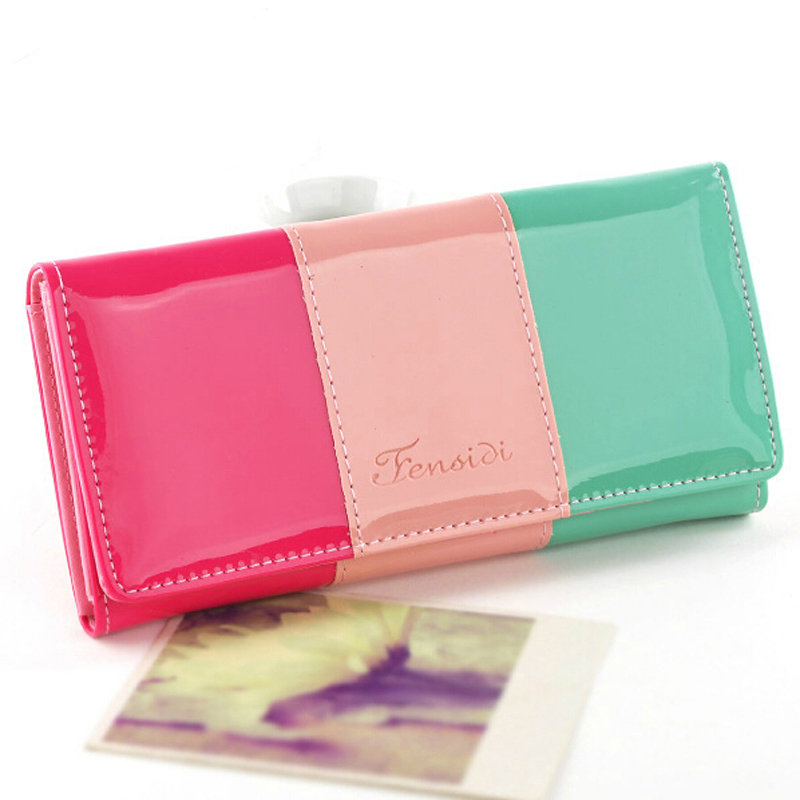 Fashion Candy color patent leather patchwork designer women wallets ladies casual purse carteira feminina