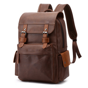 """Image 1 - Travel Laptop Men Backpack Business PU Leather Bag for 14"""" Computer Water Resistant School College Backpacks Male Zipper Solid"""