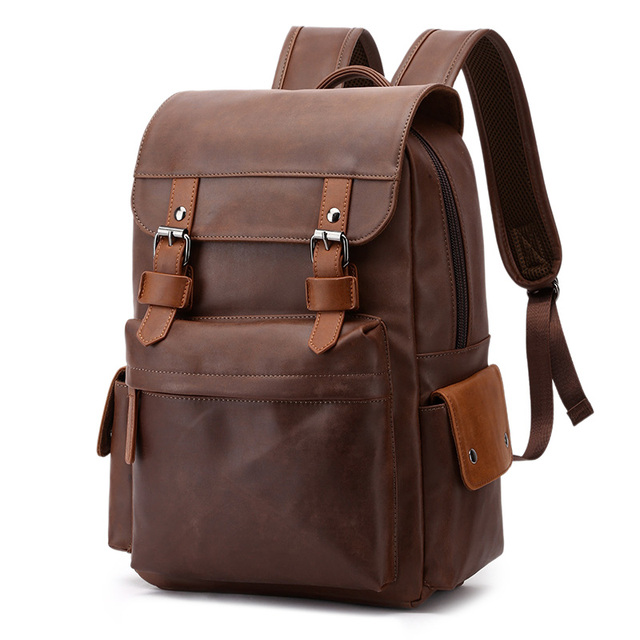 """Travel Laptop Men Backpack Business PU Leather Bag for 14"""" Computer Water Resistant School College Backpacks Male Zipper Solid"""