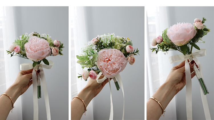 Wedding Bouquet for bridesmaids flowers artificial rose peony (2)