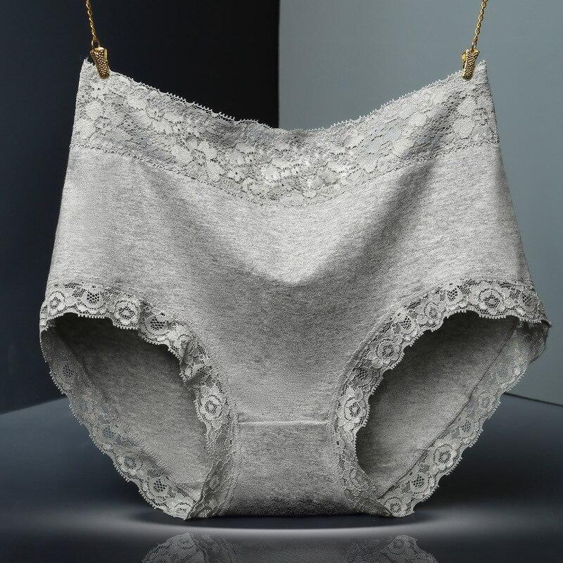 Women Cotton Underwear High Waist Breathable Trigonometric Lingeries Female Sexy Lace   Panties   Body Shaping Briefs Plus Size XXXL