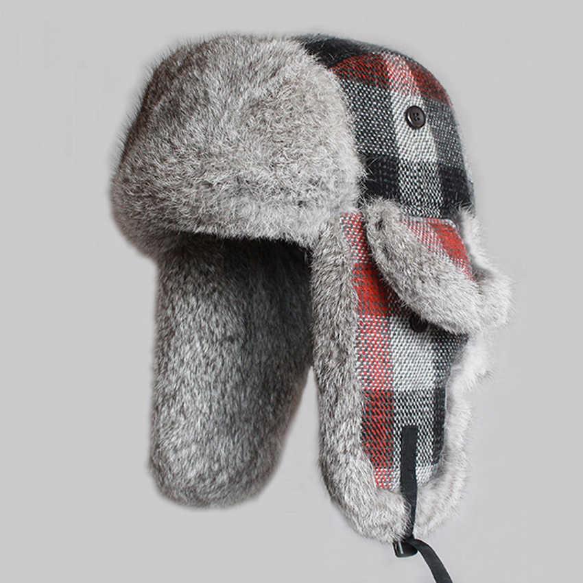 Invierno de los hombres de sombreros de piel de conejo Real soldado sombrero  cuadros espesar lana d00d2f3dde6