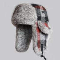 Winter Men Bomber Hats Real Rabbit Fur Trooper Hat Plaid Thicken Wool Earflap Russian Ushanka Women Warm Snow Ski Caps