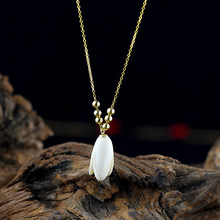 Gold Natural Hetian Stone Magnolia Pomegranate Floral Necklaces