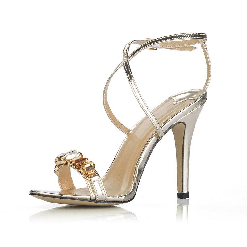 Courroie Sexy De Talons San sliver Sandales D'été Noce Dames Cheville Hauts Stilettos Femmes Gold Chaussures Cristal Strass Pompes Femme lK3FJc1T