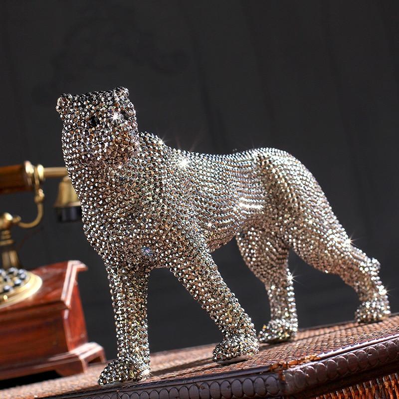 creative handmade diamond encrusted modern ceramic leopard ...