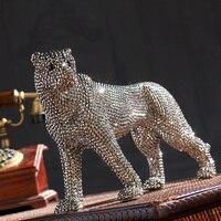 creative handmade diamond encrusted modern ceramic leopard figurine ceramic statue for home decoration ceramic animal sculpture