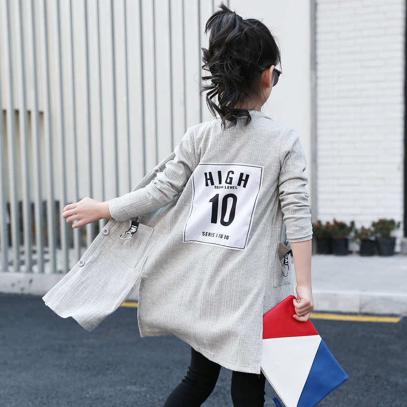 Girl Spring And Autumn Knitting Loose Long Children Vent Air Conditioner Child Shirts Kids Clothing knitting