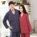 New Cotton Pajamas Set Couple Plain Sleepwear Home Wear Full Sleeves Adult Onesie Pyjamas Clothing