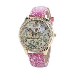 Идеальный подарок мужской и женский Универсальный мультфильм сова пару моделей алмаз кварцевые часы ярко-розовый леверт челнока Dec1