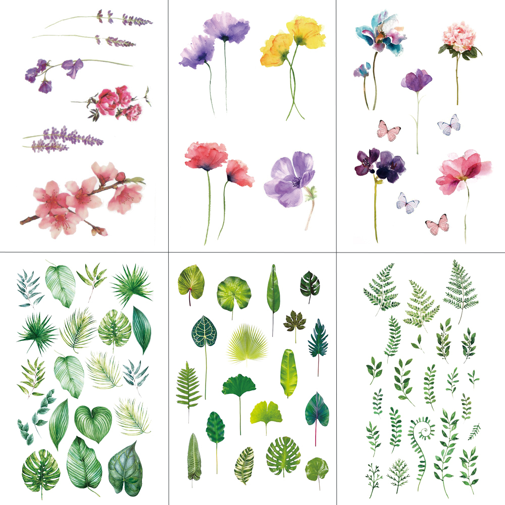 HXMAN Flower Temporary Tattoo Sticker Waterproof Fashion Women Face Fake Body Art  Children Adult Hand Tattoos 10.5X6cm P-101