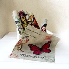 Mão tingido 6 assorted cotton linen impresso quilt tecido para diy costura patchwork home textile decor 20×20 cm borboleta