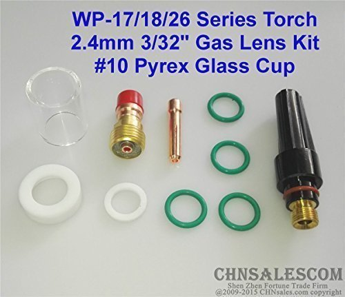 CHNsalescom 26 pcs TIG Welding Gas Lens #10 Pyrex Glass Cup Kit for WP-9//20//25 2.4mm 3//32