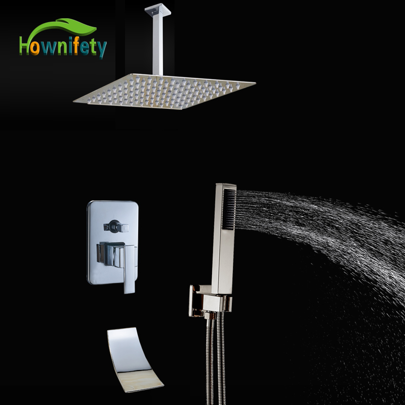Chrome Polished 16 Rain Shower Head Shower Mixer Tap with Hand Shower 3 Ways Shower Set Faucet Ceiling Mounted classic chrome polished 8 rain shower faucet set tub mixer tap with hand shower shower faucets