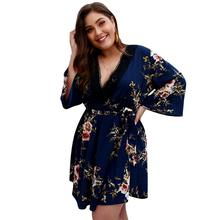 Women Ladies Plus Size  Holiday Summer Beach Deep V Neck Lace Floral Print 3/4 Sleeve Mini Short Dress Chiffon Sundress цена 2017