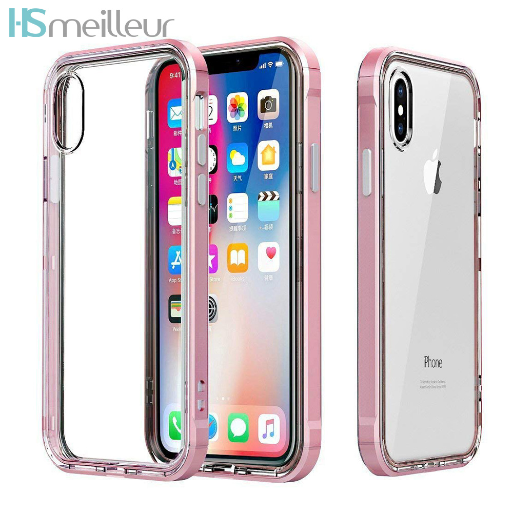 Hsmeilleur-For-iPhone-7-Case-Dual-Layer-Soft-Clear-TPU-Back-Cover-PC-Bumper-Frame-For-iPhone-XS-MAX-XR-X-8-7-6-6s-plus-5s-Coque (2)
