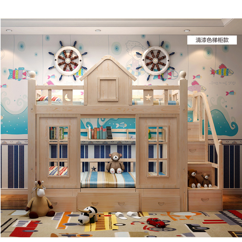 20  0128TB006 Fashionable kids bed room furnishings princess fortress with slide storages cupboard stairs double kids mattress HTB170lvo8TH8KJjy0Fiq6ARsXXas