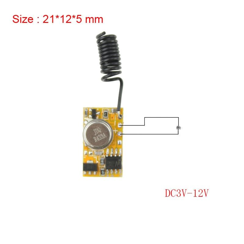 Micro Remote Control DC3V-12V RF Wireless Transmitter PCB 3V 3.6V 3.7V 4.5V 5V 6V 9V 12V Power on Transmitting 315/433 RC TX 1CH
