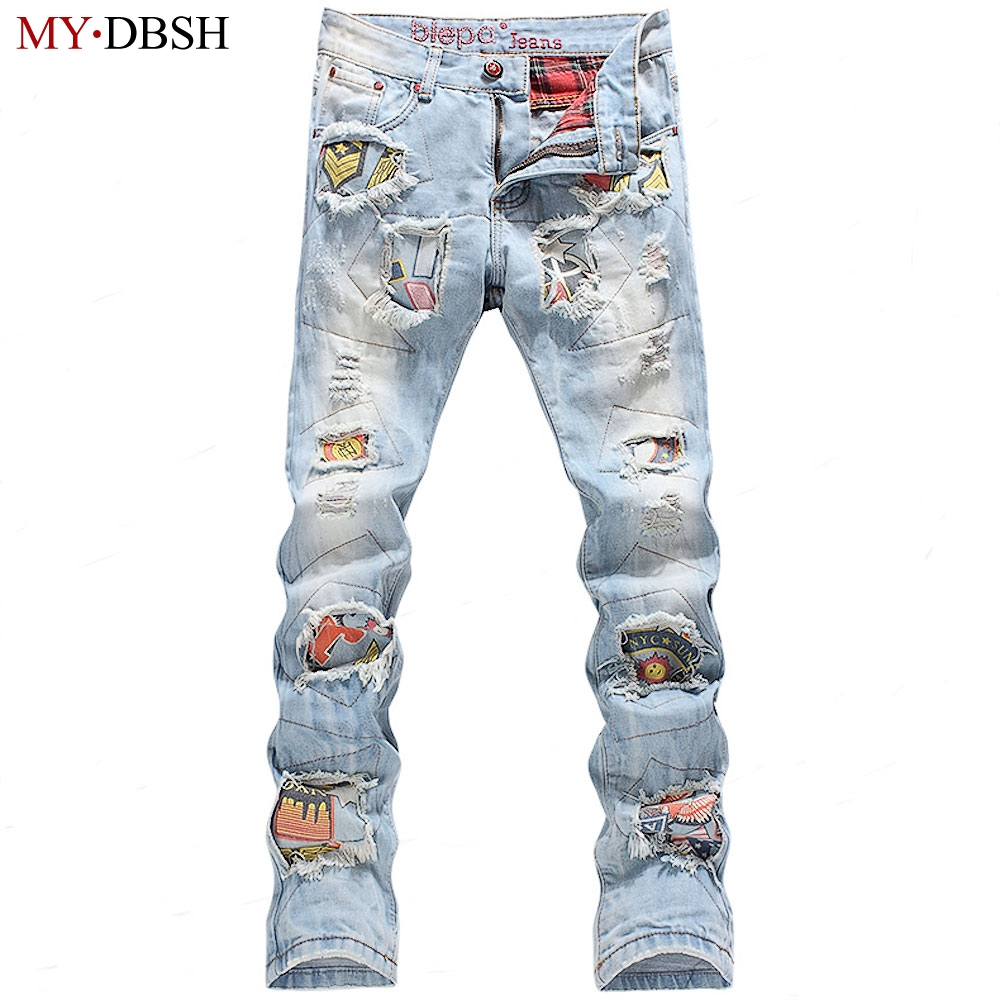 As Denim Strappato Pantaloni Moto Hip Fori Punk Sottile Dropshipping Jeans  Di Stretch The Hop Biker Distressed Mens Uomini ... 7925737a3e73