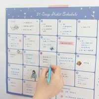 Domikee 2019 doces escola parede calendário planejador de tempo papel almofada papelaria: 21 dias planejador, planejador mensal, 100 dias planejamento a4