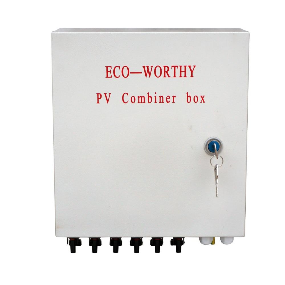 Eco-worthy 6-String Solar PV Combinador W Caixa de Disjuntores de Circuito de Proteção Contra Surtos Relâmpago
