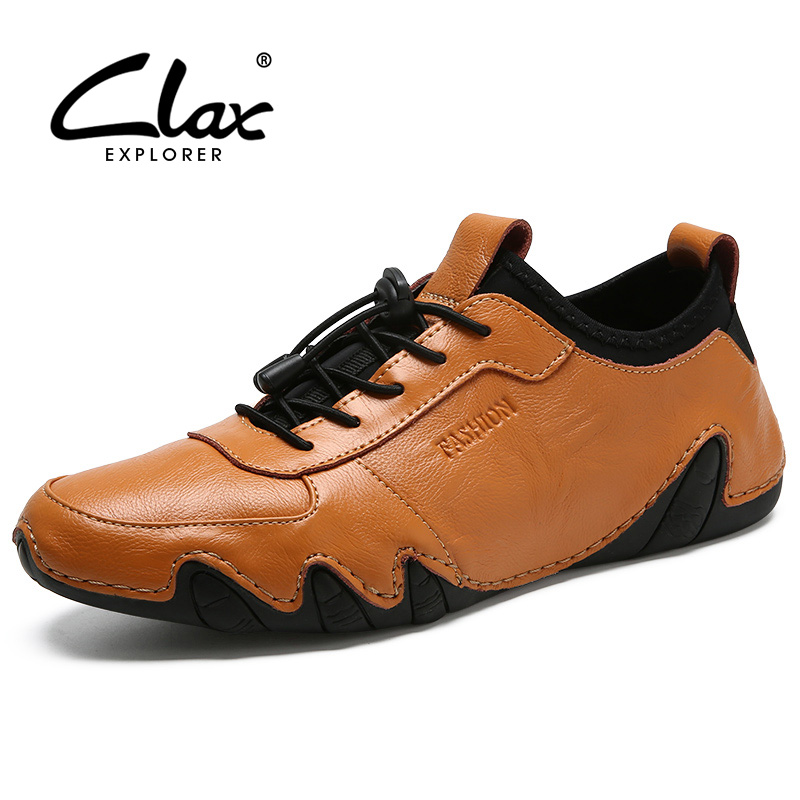 CLAX Men's Fashion Shoes 2018 Spring Autumn Casual Shoe Male Leather Footwear Designer Flats Leisure Walking Shoe Soft male casual shoes soft footwear classic men working shoes flats good quality outdoor walking shoes aa20135