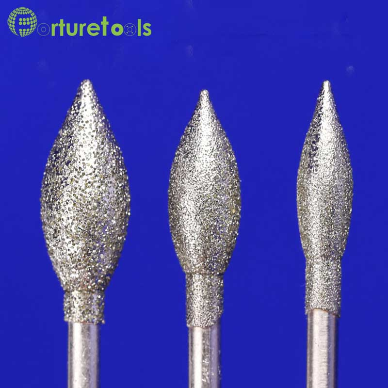 50 pz diamante montato punto smerigliatrice pietra per intaglio - Utensili abrasivi - Fotografia 3