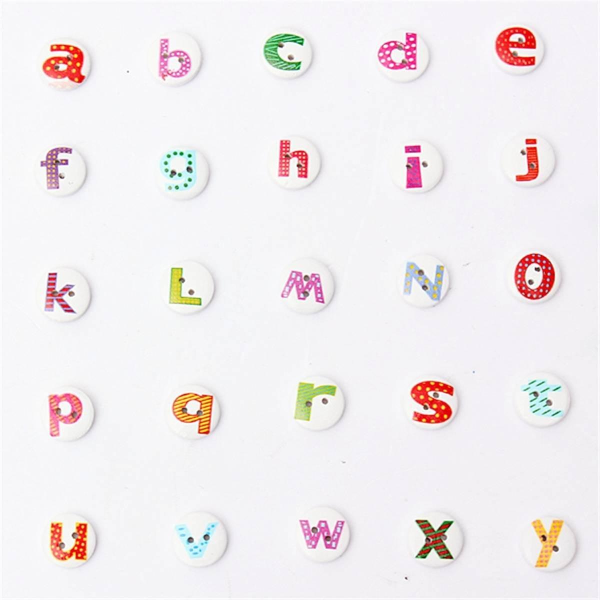 Practical Boutique 100Pcs Mixed Painted Letter Alphabet Wooden Sewing Button Scrapbooking