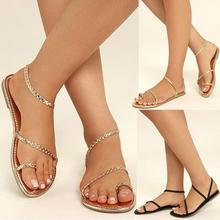 26d294ec45c Women Sandals Summer Strappy Gladiator Casual Leather Flats Ankle Low Heel  Flip Flops Beach Shoes Fashion